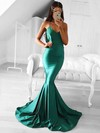 Trumpet/Mermaid V-neck Sweep Train Silk-like Satin Prom Dresses #Favs020105487
