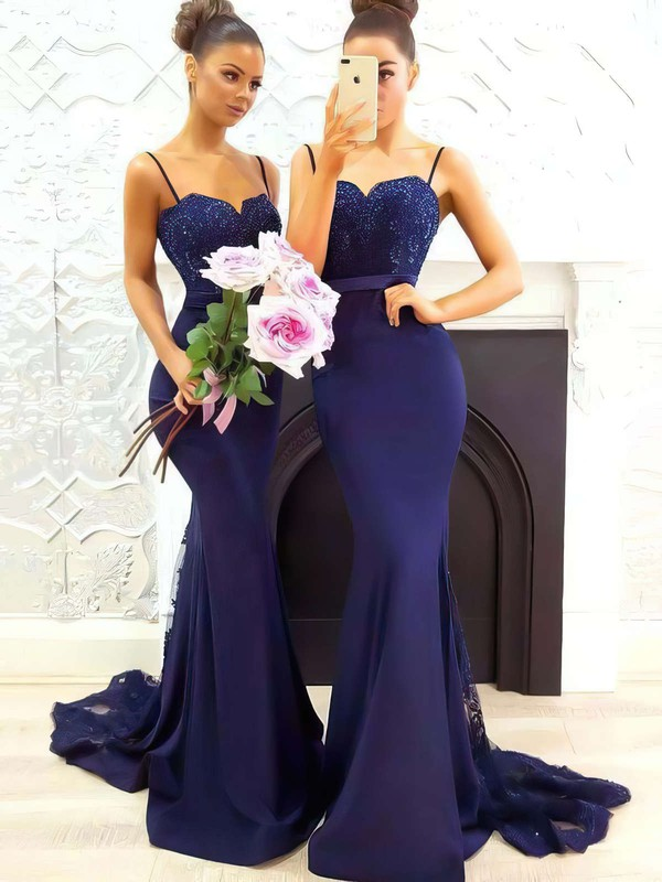 Trumpet/Mermaid Sweetheart Sweep Train Silk-like Satin Prom Dresses with Appliques Lace Sashes #Favs020105493