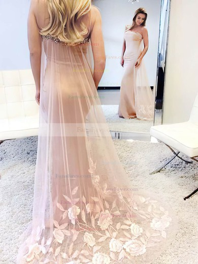 Trumpet/Mermaid Square Neckline Tulle Silk-like Satin Watteau Train Beading Prom Dresses #Favs020105500