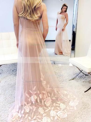 Trumpet/Mermaid Square Neckline Tulle Silk-like Satin Watteau Train Beading Prom Dresses #Favs020105500