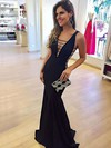 Trumpet/Mermaid V-neck Jersey Floor-length Prom Dresses #Favs020105528