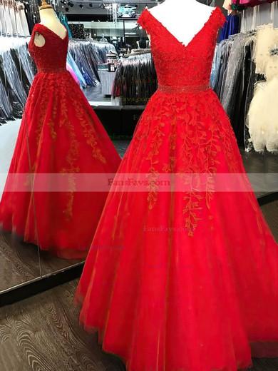 Princess V-neck Tulle Floor-length Beading Prom Dresses #Favs020105561