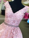 Princess V-neck Tulle Floor-length Beading Prom Dresses #Favs020105561