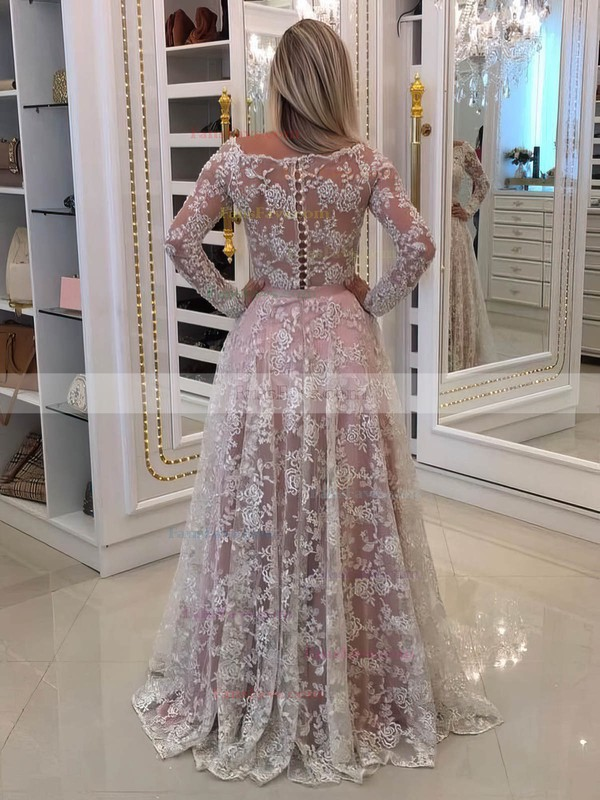A-line Off-the-shoulder Lace Floor-length Appliques Lace Prom Dresses #Favs020105583