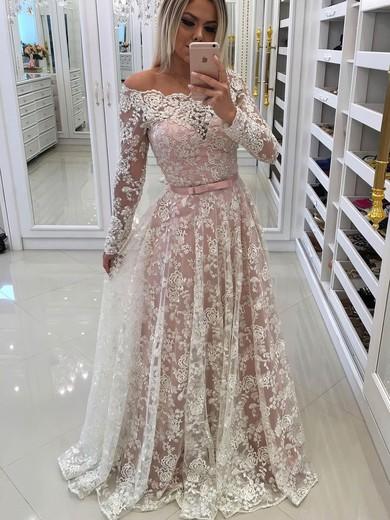 A-line Off-the-shoulder Lace Floor-length Appliques Lace Prom Dresses #Favs020105583