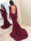 Trumpet/Mermaid V-neck Jersey Sweep Train Prom Dresses #Favs020105591
