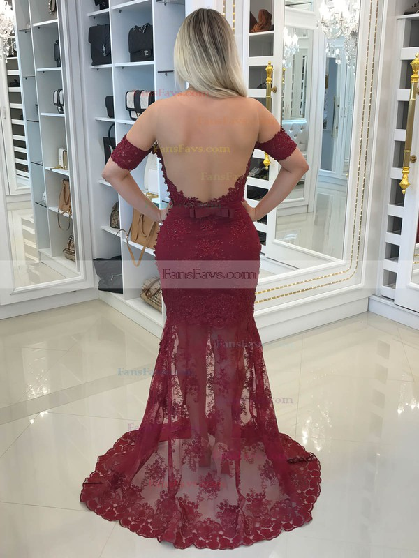 Trumpet/Mermaid Scoop Neck Lace Tulle Sweep Train Appliques Lace Prom Dresses #Favs020105635
