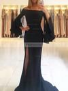 Trumpet/Mermaid Off-the-shoulder Jersey Sweep Train Split Front Prom Dresses #Favs020105645