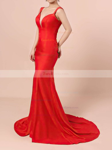 Trumpet/Mermaid V-neck Sweep Train Silk-like Satin Prom Dresses with Split Front #Favs020104348