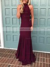 Trumpet/Mermaid High Neck Sweep Train Jersey Prom Dresses #Favs020105684