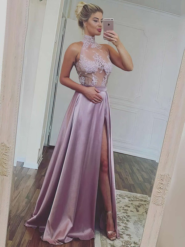 A-line High Neck Floor-length Satin Tulle Prom Dresses with Appliques Lace Split Front #Favs020105685