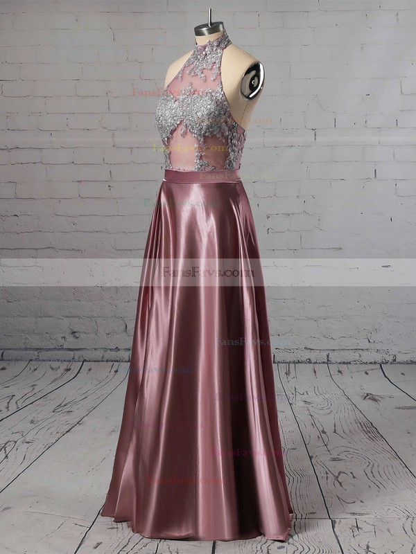 A-line High Neck Satin Floor-length Appliques Lace Prom Dresses #Favs020105685