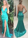 Trumpet/Mermaid V-neck Silk-like Satin Sweep Train Split Front Prom Dresses #Favs020104362
