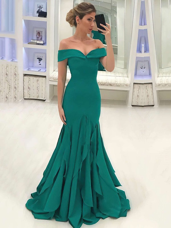 Trumpet/Mermaid Off-the-shoulder Silk-like Satin Sweep Train Ruffles Prom Dresses #Favs020105700