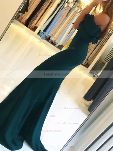 Trumpet/Mermaid Off-the-shoulder Silk-like Satin Sweep Train Split Front Prom Dresses #Favs020105701