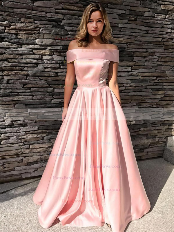 Princess Off-the-shoulder Satin Sweep Train Pockets Prom Dresses #Favs020105710