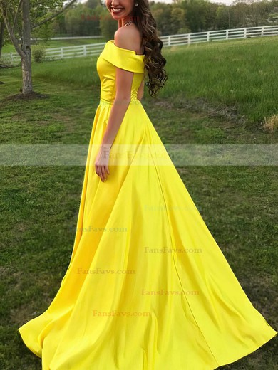 Princess Off-the-shoulder Sweep Train Satin Prom Dresses #Favs020105710