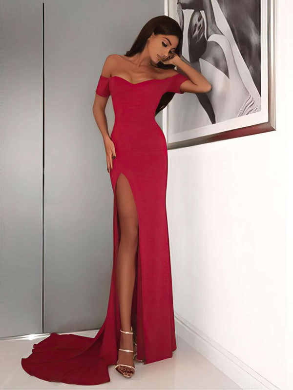 Sheath/Column Off-the-shoulder Sweep Train Jersey Prom Dresses with Split Front #Favs020105720
