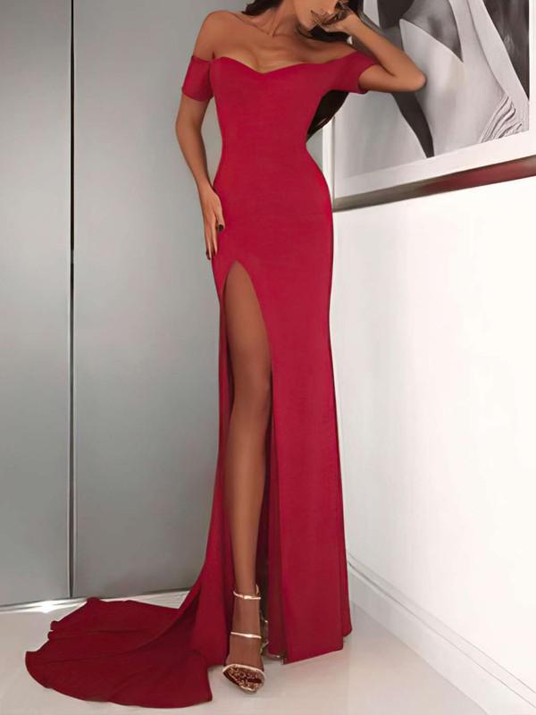 Sheath/Column Off-the-shoulder Jersey Sweep Train Split Front Prom Dresses #Favs020105720