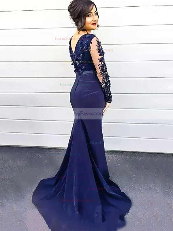 Trumpet/Mermaid Scoop Neck Sweep Train Silk-like Satin Prom Dresses with Appliques Lace Beading #Favs020104402