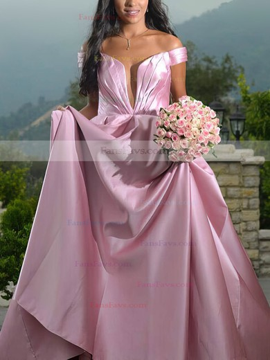 Princess Off-the-shoulder Satin Sweep Train Ruffles Prom Dresses #Favs020105724
