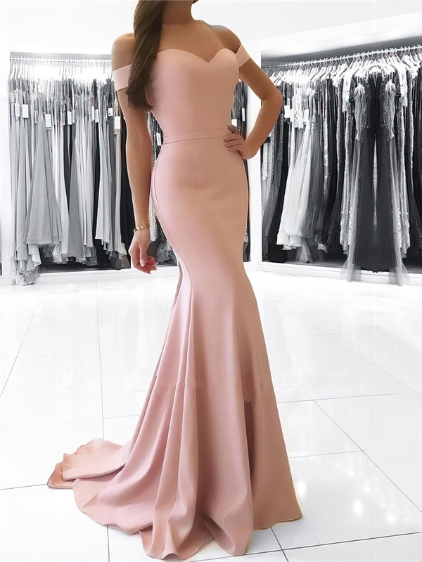Trumpet/Mermaid Off-the-shoulder Stretch Crepe Sweep Train Sashes / Ribbons Prom Dresses #Favs020105727