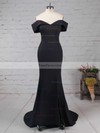 Trumpet/Mermaid Off-the-shoulder Sweep Train Satin Prom Dresses with Split Front #Favs020105741