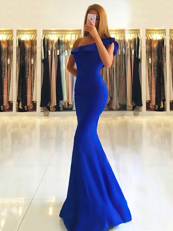 Trumpet/Mermaid One Shoulder Stretch Crepe Floor-length Ruffles Prom Dresses #Favs020105742