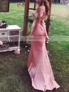 Sheath/Column V-neck Silk-like Satin Sweep Train Prom Dresses #Favs020105751
