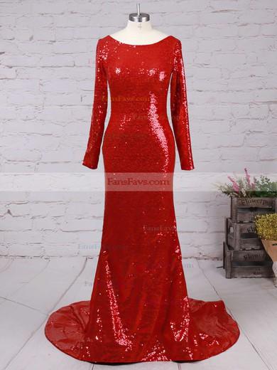 Trumpet/Mermaid Scoop Neck Sequined Sweep Train Prom Dresses #Favs02016266