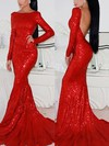 Trumpet/Mermaid Scoop Neck Sequined Sweep Train Prom Dresses #Favs02016266