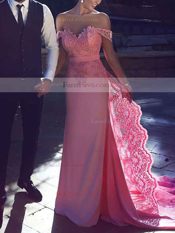 Sheath/Column Off-the-shoulder Sweep Train Silk-like Satin Prom Dresses with Appliques Lace Sashes #Favs020104429