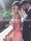 Sheath/Column Off-the-shoulder Silk-like Satin Sweep Train Appliques Lace Prom Dresses #Favs020104429