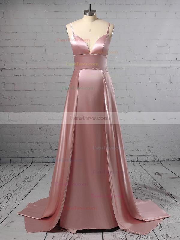 A-line V-neck Silk-like Satin Sweep Train Split Front Prom Dresses #Favs020105768