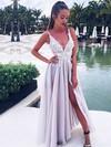 A-line V-neck Floor-length Chiffon Prom Dresses with Appliques Lace Split Front #Favs020105770