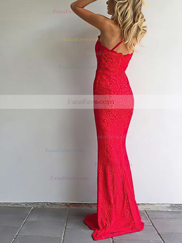 Sheath/Column Halter Sweep Train Lace Prom Dresses #Favs020105793