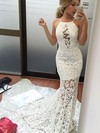 Trumpet/Mermaid Scoop Neck Sweep Train Lace Prom Dresses with Appliques Lace #Favs020105804