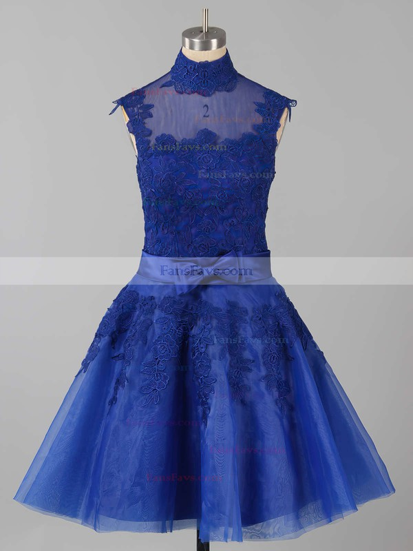 A-line High Neck Knee-length Tulle Prom Dresses with Appliques Lace Sashes #Favs020101414
