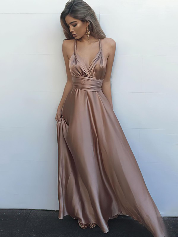 A-line V-neck Silk-like Satin Floor-length Ruffles Prom Dresses #Favs020104433