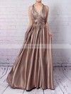 A-line V-neck Ankle-length Silk-like Satin Prom Dresses with Ruffle #Favs020104433