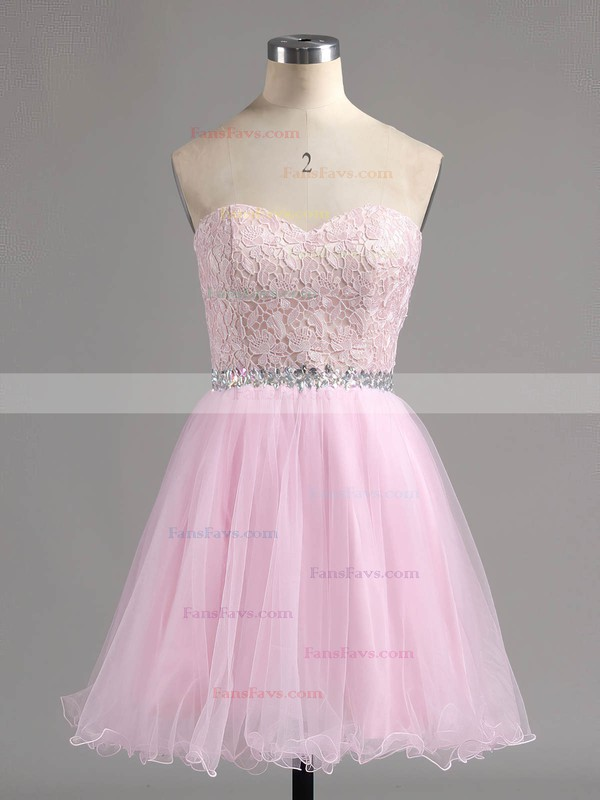 Ball Gown Sweetheart Tulle Short/Mini Beading Prom Dresses #Favs020101804