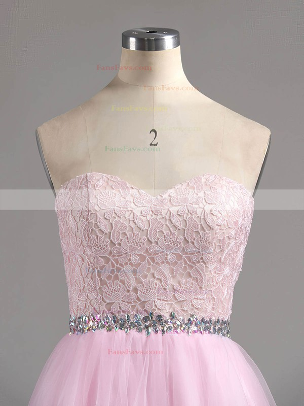 Ball Gown Sweetheart Short/Mini Tulle Prom Dresses with Appliques Lace Beading #Favs020101804