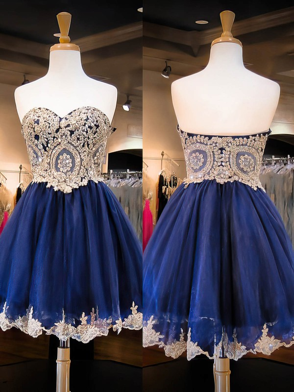 A-line Sweetheart Short/Mini Organza Prom Dresses with Appliques Lace Beading #Favs020102037
