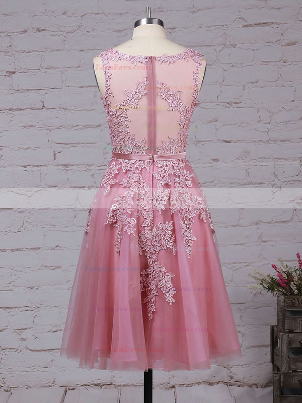New Style Scoop Neck Tulle Appliques Lace Knee-length Prom Dresses #Favs020102050