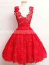 A-line V-neck Lace Knee-length Appliques Lace Prom Dresses #Favs020102389