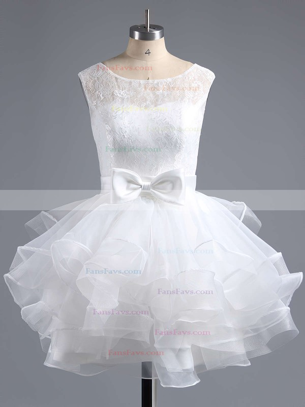 A-line Scoop Neck Lace Organza Short/Mini Bow Prom Dresses #Favs020102158