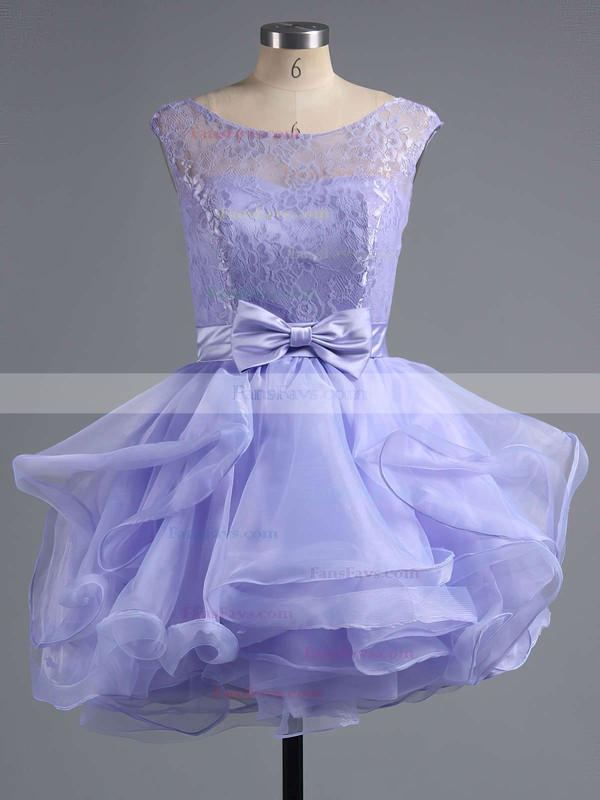 A-line Scoop Neck Short/Mini Lace Tulle Prom Dresses with Bow Sashes #Favs020102158