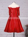 A-line Off-the-shoulder Short/Mini Satin Prom Dresses with Appliques Lace #Favs020102397