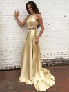 A-line High Neck Silk-like Satin Sweep Train Beading Prom Dresses #Favs020104449