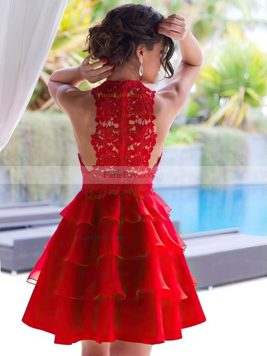 A-line Scoop Neck Lace Chiffon Short/Mini Tiered Red New Style Prom Dresses #Favs020102822